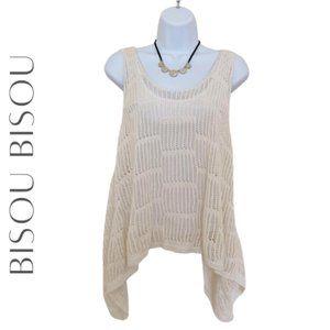 BISOU BISOU Knit Open Back Knit Tank Top, M